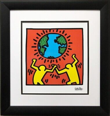 "Keith Haring ""KH02"" CUSTOM FRAMED Pop Art  Litho Community World Peace Earth Day"