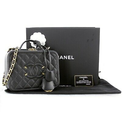 845ab595a423 CHANEL Black Vanity Case CC Filigree Diamond Quited Caviar Leather Handbag
