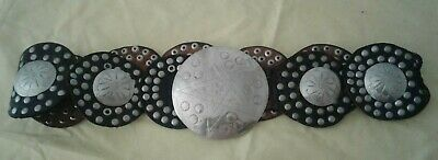 Vintage Concha Leather belt, with star buckle, made in the 1970's