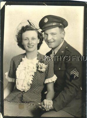 Found B&W Photo A+0289 Soldier Posed Sitting With Pretty Woman In Dress