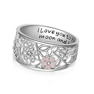 Love You to the Moon and Back Cherry Blossom Wrap Rings For Womens Jewelry SO