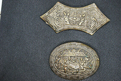 Antique Vintage Chinese Asian Repousse Pins Brooch Export Brass Estate