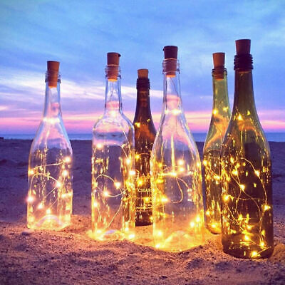 9pcs Warm Wine Bottle Cork Shape Lights 20 LED Night Fairy String Lights Lamp