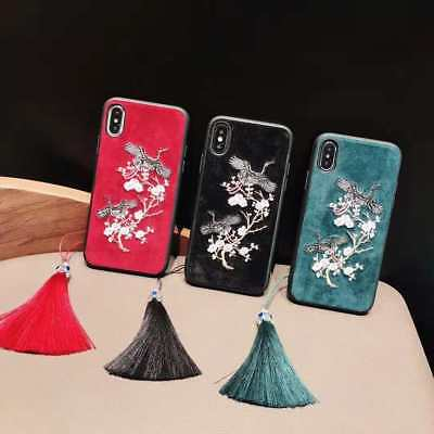 Luxury Retro Chinese Style Velvet Embroidery Crane Tassels Case Cover For iPhone