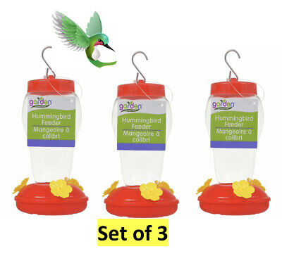 3-Hummingbird Feeder Clear Plastic Hanging 16 oz Outdoor/Yard New Value Set