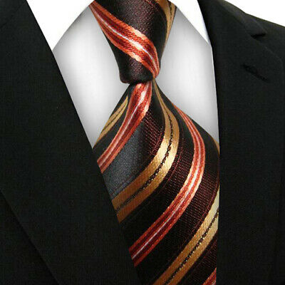 New Classic Striped Tie WOVEN JACQUARD Silk Men's Suits Ties Necktie Brown V194