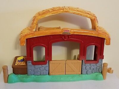 Fisher Price Little People brown horse yellow halter drummer boy pony stable toy