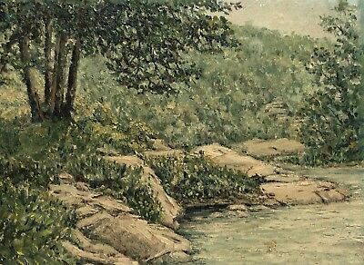 Vintage Plein Air Landscape River Lake Nature Study Painting