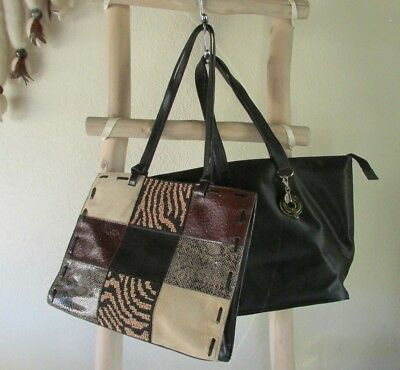 A LOT OF 2 CHICO'S L MULTI-COLOR LEATHER w BEADS + BLACK POLYESTER TOTE BAG