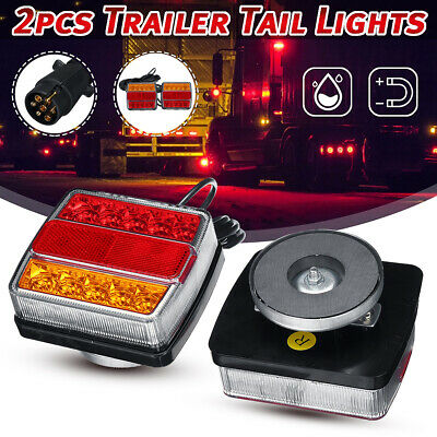 Pair Magnetic 16LED Trailer Towing Lightboard Light Rear Tail Board Lamps +Cable