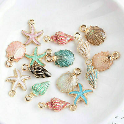 13 Pcs/Set Metal Mixed Starfish Conch Shell Pendants DIY Jewelry Making Handmade