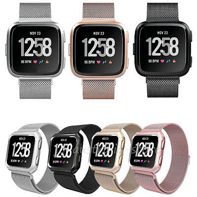 Milanese Stainless Steel Watch Band Strap +Frame Cover Case For For Fitbit Versa