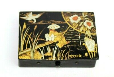 Antique Japanese Gold Painted Papier Mache Black Lacquer Stationery Box  [5220]
