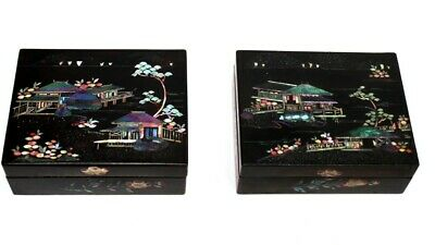 Pair of Vintage Japanese Mother of Pearl Inlaid Lacquered Cigarette Boxes [5221]