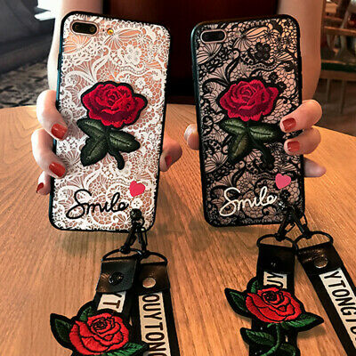 For Huawei Y9 Prime 2019 Honor 9X 20 Pro P30 Lace Rose Flower With Lanyard Case