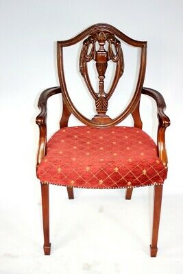 Vintage Hepplewhite Style Mahogany Carved Shield Back Armchair [5223A]