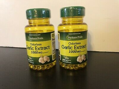 2X Puritan's Pride Garlic Oil 1000mg 100 softgels~200 Total  NEW Sealed