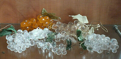 Artificial Fruit Grape Grapes Lot of 7 Clear & Orange Bunch Faux Display
