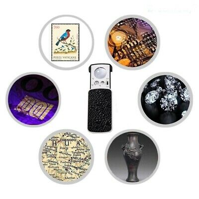 30X 60X 90X Pocket Magnifying Magnifier Jeweler Eye Glass Loupe Loop LED Lights