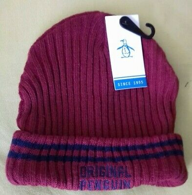 cbd28a08939197 ORIGINAL PENGUIN Mens Ribbed Knit Solid Winter Beanie Hat Red One Size >  BNWT