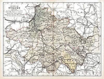 An enlarged 1897 map of County Tyrone,  Ireland.