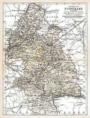 An enlarged 1897 map of County Tipperary,  Ireland.