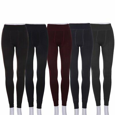 Women Warm Thick Fleece Fur Lined Thermal Leggings Solid Stretch Winter Pants G