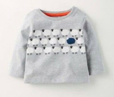 Ex Baby Boden Boys Applique Logo Long Sleeve Top  Age 3 6 12 18 24mths 2-3 Years