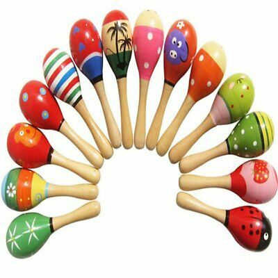 Baby Toys Wooden Rattle Cute Mini Sand Hammer Maracas Musical Instrument Toys A