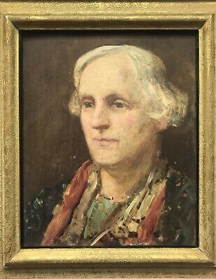 Early 20th Century antique oil painting on panel portrait study of a woman