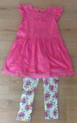 Young Girls - Short Sleeved Pink Top & Flowered Leggings Set - Size 7 - 8 years