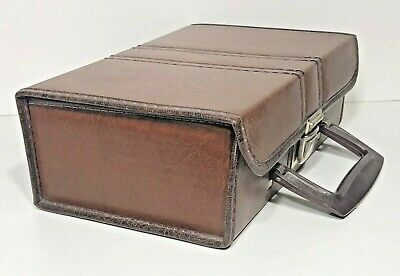 Vintage 12 Tape Cassette Portable Storage Holder Carrying Case Box In Brown