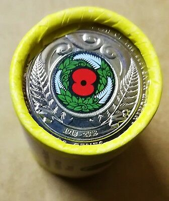 5 x 2018 NZ ARMISTICE 50 CENT COIN ROLL.