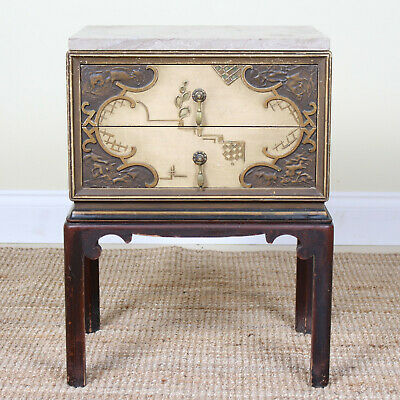 Antique Swedish Marble Petite Chest of Drawers Side Bedside Table