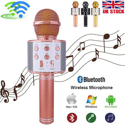 Q9 Wireless Bluetooth Karaoke Microphone Speaker Handheld Mic USB Player KTV UK