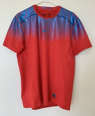 7d83ba7f53fe7 Nike Pro Hypercool Max Fitted Men's Training Shirt Sz L Lg Red Blue Euc