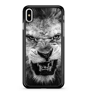 León Negro Blanco Cara King Of The Jungle Roar Fierce Animal 2D Funda de