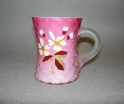 Antique English Pink Mother Of Pearl Diamond Quilted Cased Satin Handled Mug