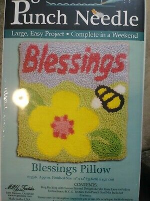 Rug Yarn Punch Needle Blessings Pillow Kit 12 x 12, MCG Textiles #73516