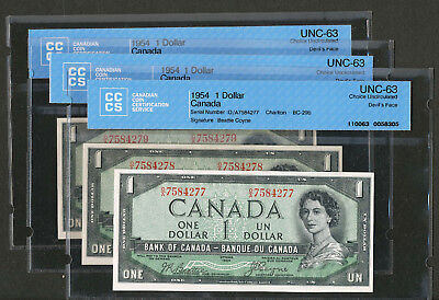 3 Consecutive serial # 1954 $1 Canada DEVIL'S FACE notes. CCCS UNC63 BC-29b B-C