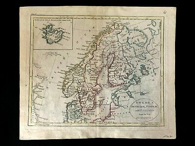 1807 MAP OF SWEDEN, DENMARK, NORWAY AND FINLAND from The Best Authorities