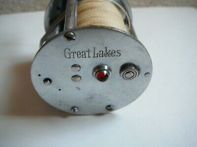Rare Old Vintage Great Lakes Fishing Reel Jeweled End Caps