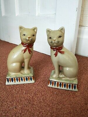 vintage pair of old Chinese cats