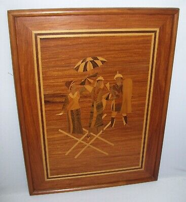 Rare Vintage Marquetry Inlay Wood Art Framed Asian Dancers Malu Soldier 18x24