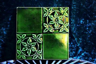 Antique Victorian Green Lustre Leaves Tile Moulded Floral