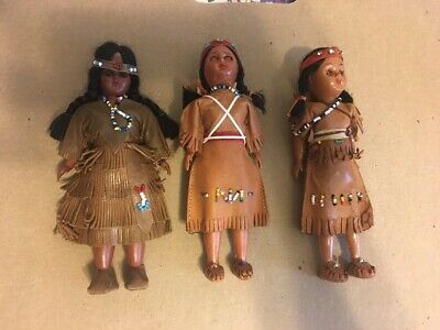 Vintage Indian Native American Sleepy Eyes Doll With Papoose Lot Of Three Dolls