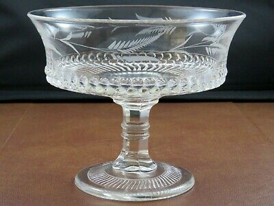 Antique Fern Cut Glass Ball & Swirl Band Centerpiece Compote Footed Console Bowl