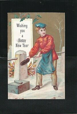 Antique 1800s  Wising you a Happy New Year* Holiday Greeting. Britain.