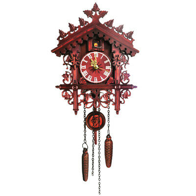 Vintage Wooden Wall Cuckoo Clock Swinging Pendulum Wood Hanging Crafts E9R4
