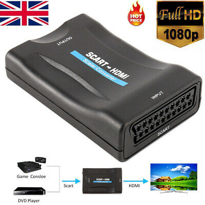 1080P SCART To HDMI Video Audio Upscale Converter Adapter for HD TV DVD SkyBox